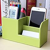 Comfspo Wooden Struction Leather Multi-function Desk Stationery Organizer Storage Box Pen/Pencil ,Cell phone, Business Name Cards Remote Control Holder Colors