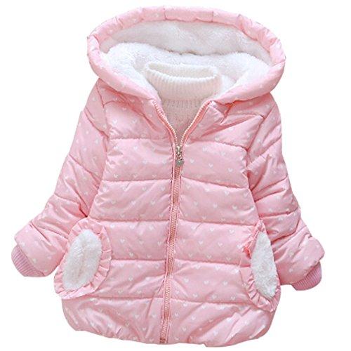 LUKYCILD Baby Girl Princess Coat Winter Hoodie Jacket Coat Pink 4T/5T by LUKYCILD