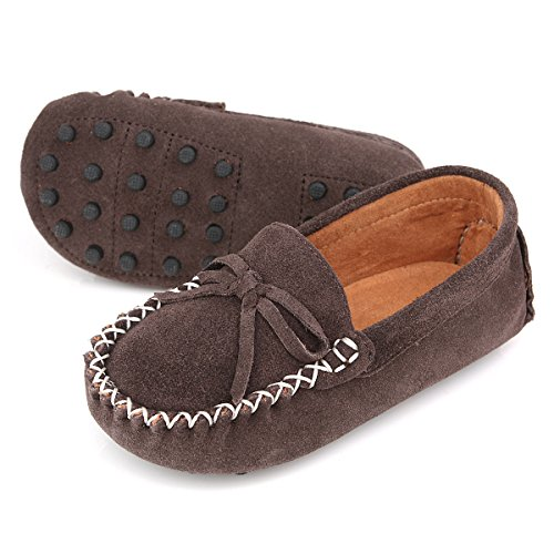 Dark Brown Kid Suede Footwear - Augusta Baby Leather Loafers Boat Shoes Slip-on Moccasins with Gommino Sole - Safety Certified Genuine Leather - Dark Brown Suede - US Toddler 5