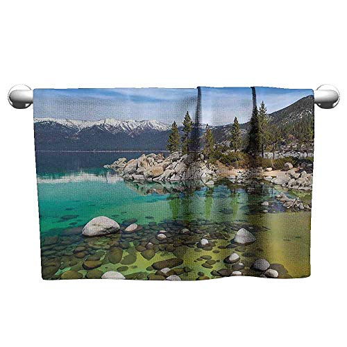 DUCKIL Absorbent Towel United States Landscape Pictures California Collection Sierra Nevada Lake Tahoe Rocky Mountains Bathroom Towel 27 x 14 inch Blue Green White