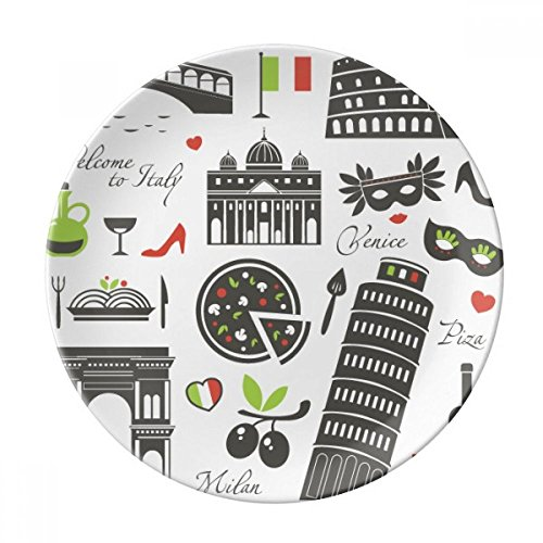 Italy The Leaning Tower of Pisa Roman Theater Dessert Plate Decorative Porcelain 8 inch Dinner Home (Roman Dessert)