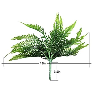 Fake Faux Artificial Boston Ferns Plants Greenery Bushes for Indoor Outside Home Garden Party Decor 4 Bunches 24 Leaves Per Bunch 2