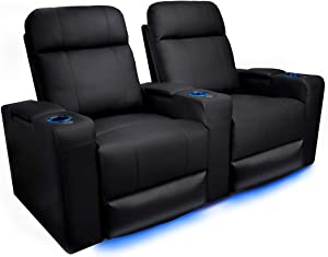 Piacenza Home Theater Seating | Premium Top Grain Leather, Power Recliner, Power Headrest, LED Lighting (Row of 2)