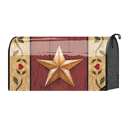 Welcome Barn Star on Red Wood Door 22 x 18 Standard Size Mailbox - Bbq Rankings