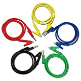 TKDMR 4mm 5PC Colorful Silastic Banana Plug (Cross-Bonding) to Crocodile Alligator Clip Test Probe Lead Wire Cable Multimeter Probe Test Lead 1M