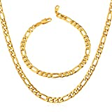 U7 Figaro Chain 5MM Wide Stainless Steel Gold Plated Necklace Bracelet Set