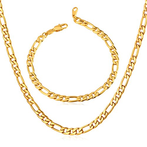 Men's 18k Gold Plated Italian Solid Figaro Chain Necklace & Bracelet Set (Mens Italian Chain Necklace compare prices)
