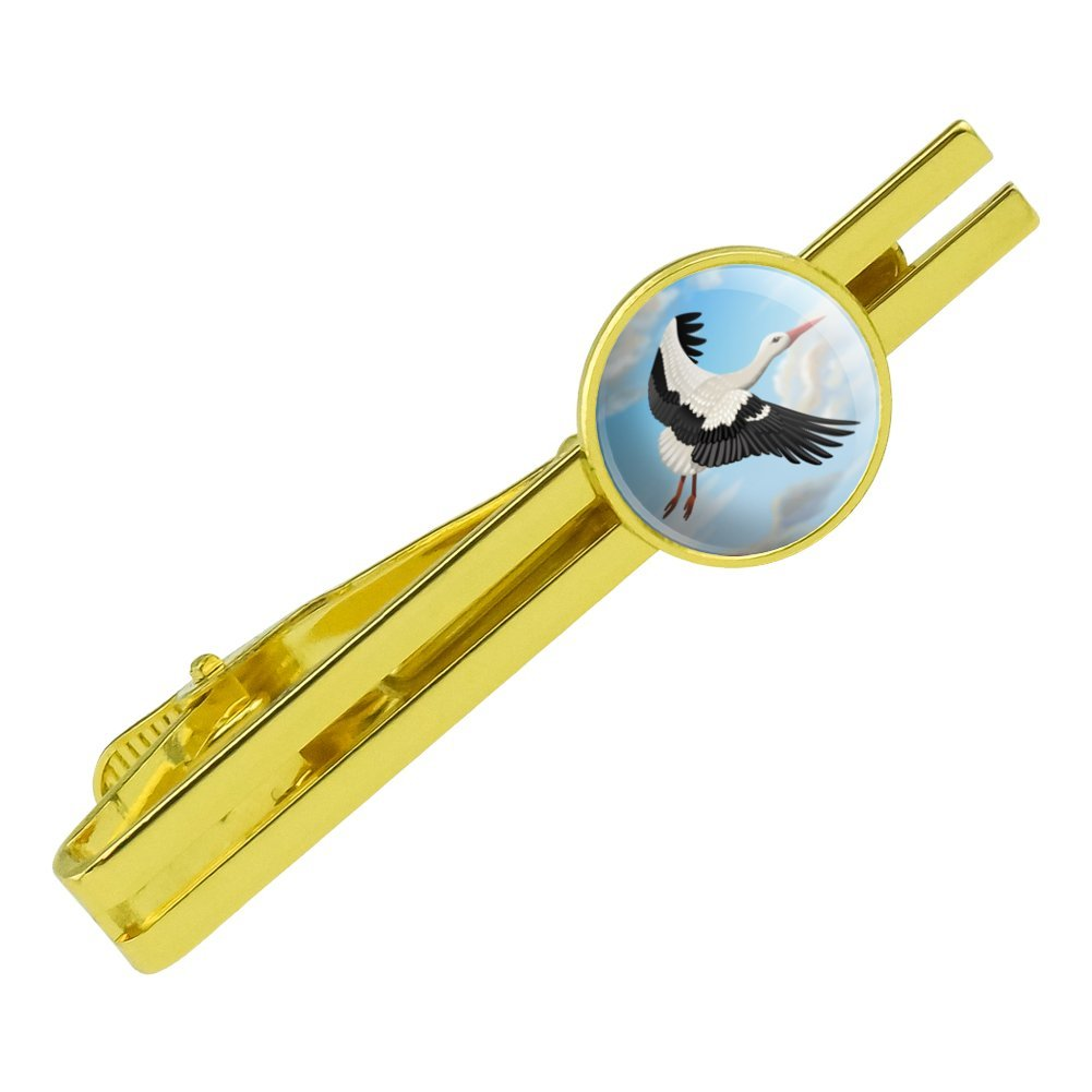 GRAPHICS /& MORE Flying Stork Round Tie Bar Clip Clasp Tack Gold Color Plated