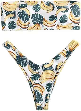 4f18e8d2938 Paymenow Swimsuits for Women Bandeau Strapless Coconut Print Hawaii Two  Pieces Bathing Suit