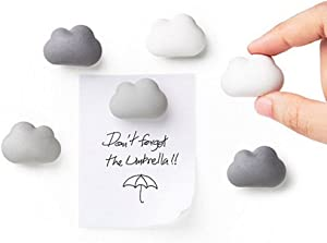 Novelty Fridge Magnets Cloud Magnets by Qualy Design Studio. Set of 6 Message Magnets. Cloud Magnets Gradual Colors from White to Dark Grey. Can be used in Office or at Home.