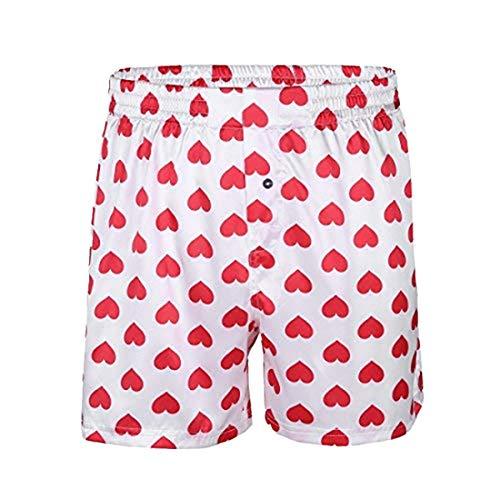 MSemis Men's Lips/Heart Printed Classic Satin Boxers Shorts Summer Lounge Underwear Beach Shorts (White Love Heart Print, Large (Waist 29.5