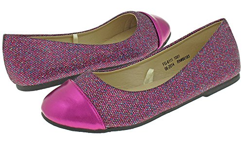 Capelli New York Girl's Glitter Faux Leather Flat with Metallic Toe Pink Combo 3