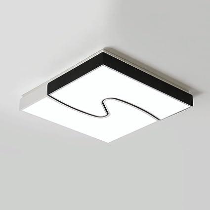 ZQL Lámpara de techo de acrílico negra y blanca cuadrada de ...