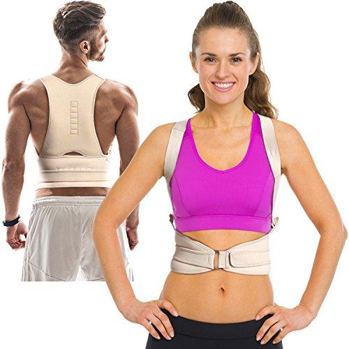 Thoracic Back Brace Posture Corrector - Magnetic Support for Back Neck Shoulder and Upper Back Pain Relief Perfect Posture Brace for Cervical and Lumbar Spine Fully Adjustable Belt and Straps (Beige)