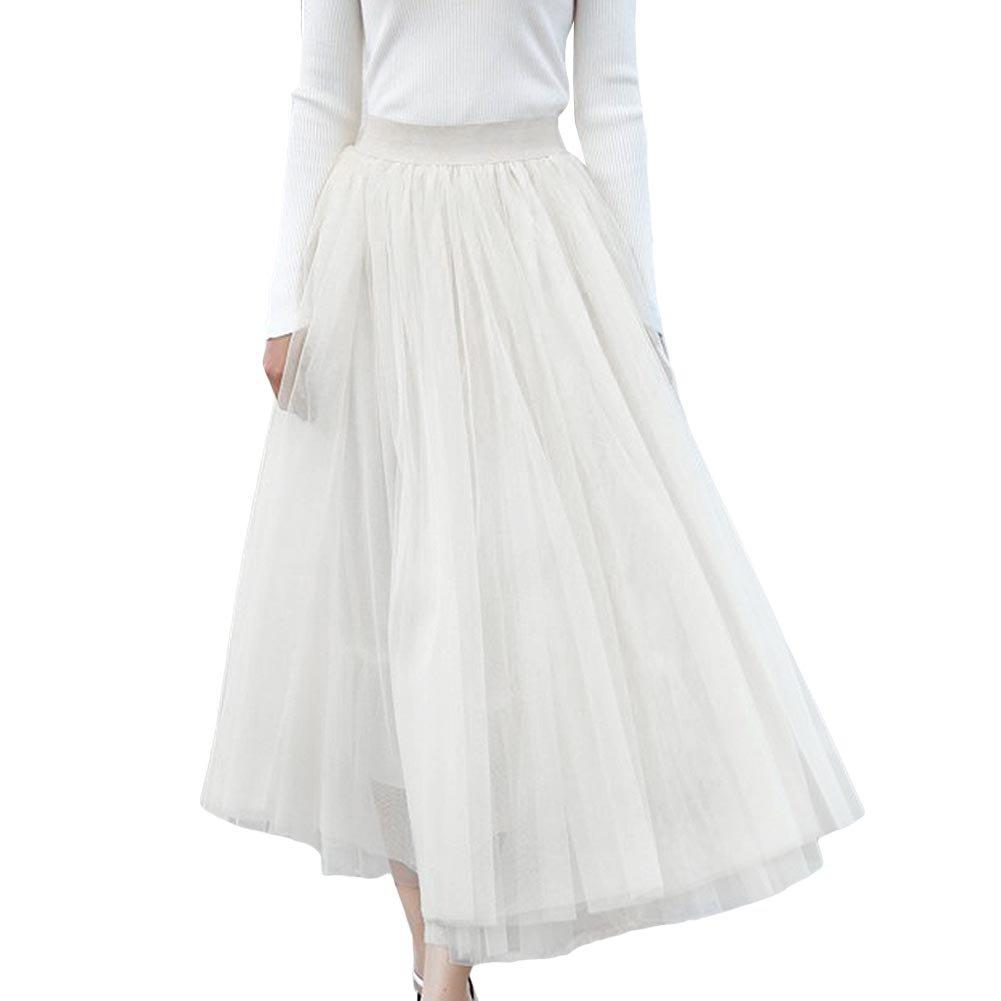 FUNOC Women's Midi Skirt Pleated TUTU Skirts Flowy Korean Style Gauze Skirt