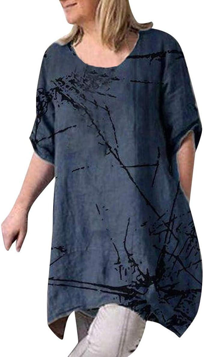 Tosonse Camiseta para Mujer Tops De Cuello Redondo Blusa De Manga Corta Estampado De Tanques Camisas tee Túnica Diario Regalo: Amazon.es: Ropa y accesorios