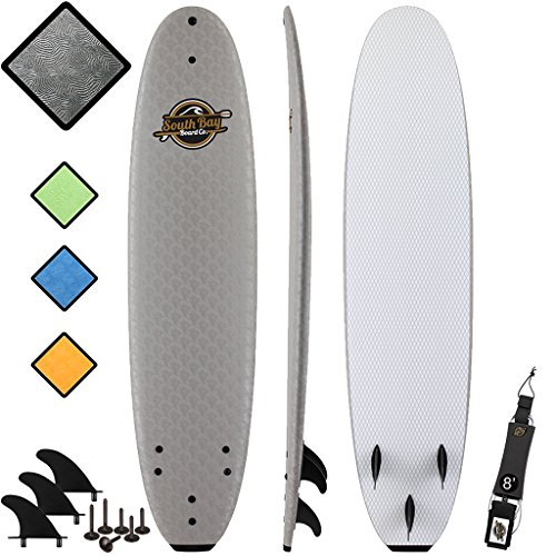 Soft Top Surfboard + Bag Package - Best Foam Surf Board for Beginners, Kids, and Adults - Soft Top Surfboards for Fun & Easy Surfing - 7' Ruccus, 8' Verve & 8'8 Heritage Surfboards All Wax-Free (Best Beginner Surfboard For Big Guys)