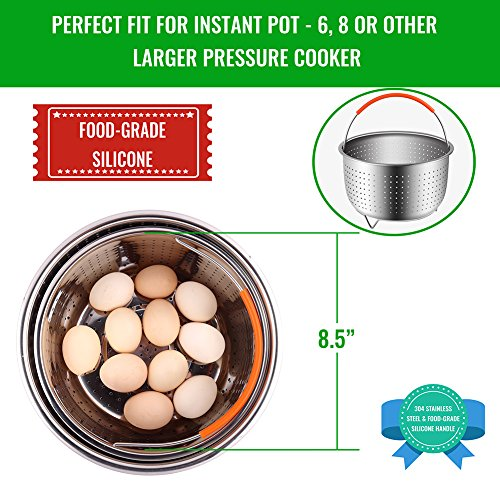 The Original Sturdy Steamer Basket for 6 or 8 Quart Instant Pot Pressure Cooker, 304 Stainless Steel Steamer Insert with Silicone Covered Handle, Great for Steaming Vegetables Fruits Eggs by HOUSE AGAIN (Image #1)