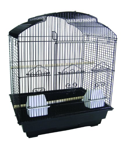YML 3/8-Inch Bar Spacing ShellTop Small Bird Cage, 18-Inch by 14-Inch, Black, My Pet Supplies