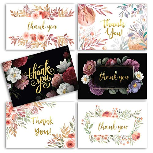 96 Floral Thank You Cards with Envelopes,Gold Foil Word & Matching Invitations | Bridal Shower Thank You Cards - Bulk Thank You Cards - Perfect for wedding & bridal shower & bridesmaid thank you cards
