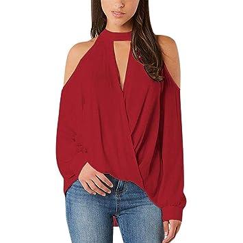 Blusas Off Shoulder, Zolimx Mujer Sexy Dama Camisas Volantes Mujer V-Cuello de Hombro