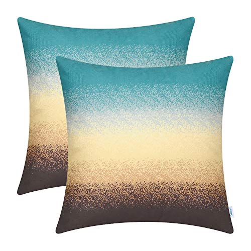 CaliTime Pack of 2 Cozy Fleece Throw Pillow Cases Covers for Couch Bed Sofa Modern Gradient Ombre Rainbow Stripes 18 X 18 inches Teal to Coffee