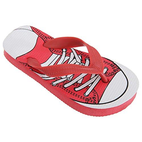 FLOSO - Sandalias / chanclas de dedo con diseño de deportiva para niños Rojo