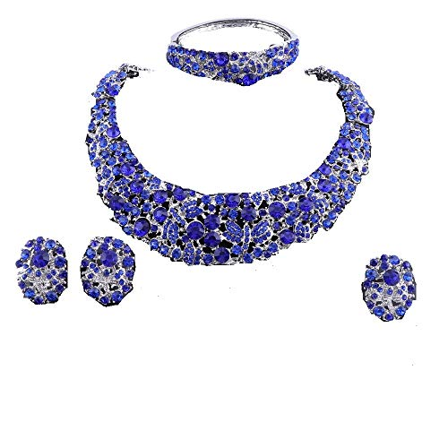 OUHE Jewelry Sets for Women Crystal Inlay Necklace Earrings Ring Bracelet Bridesmaid Costume Show Wedding (Silver Blue) -