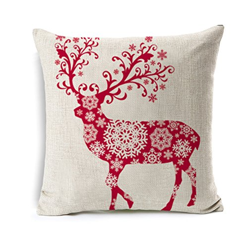 (All Smiles Christmas Reindeer Throw Pillow Case Deer Outdoor Décor Cushion Cover PiIlowcase 18x18 Cotton Linen Decorations)