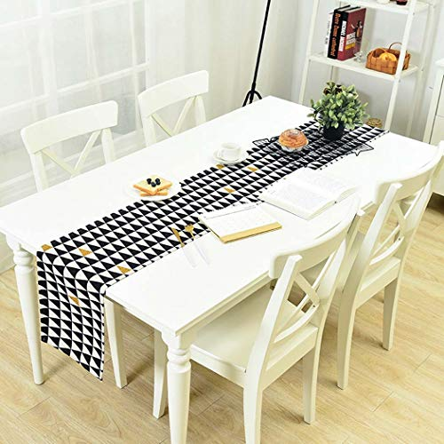 DUXX Table Runners Linen Cotton Triangular Geometry Suitable todining Table Coffee Table Piano TV Cabinet Bookcase etc,Black,30180cm