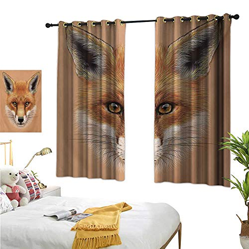 - Fox Blackout Draperies for Bedroom Cute Fluffy Face of Forest Fox Young Baby Mammal Predator Canine Vixen W55 x L72,Suitable for Bedroom Living Room Study, etc.