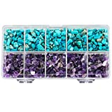 SUNYIK Tumbled Chips Stone Crushed Pieces Crystal Quartz for Tumbling,Cabbing,Amethyst & Howlite Turquoise