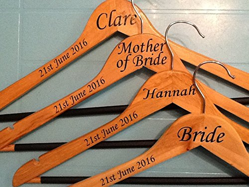Wedding bridal party vinyl coat hanger decal sticker name role and date diy 20 stickers amazon co uk diy tools