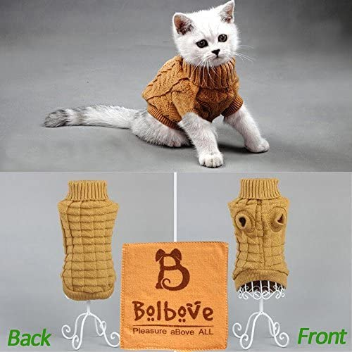 Bolbove Cable Knit Turtleneck Sweater for Small Dogs & Cats Knitwear Cold Weather Outfit 10