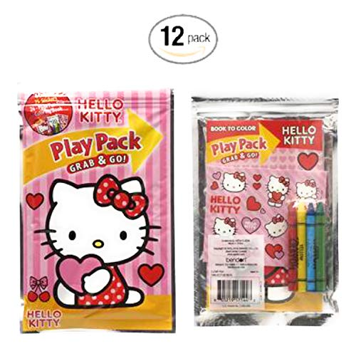 Hello Kitty Play Pack Grab and Go for fun, childrens, party favors, birthday gifts and school.- Arts and Crafts set. (Pack of 12) -