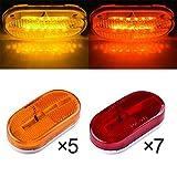 4 x 2 rv marker lights lenses - LTPAG 12pc(red+amber) 4