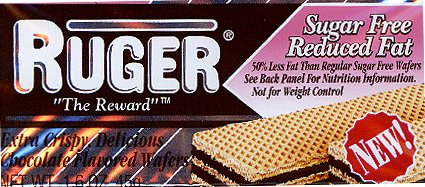 Chocolate Sugar Free Wafers - Ruger Sugar Free, Reduced Fat (0 Trans Fat) 1.6 oz Chocolate Wafers (24 packs)