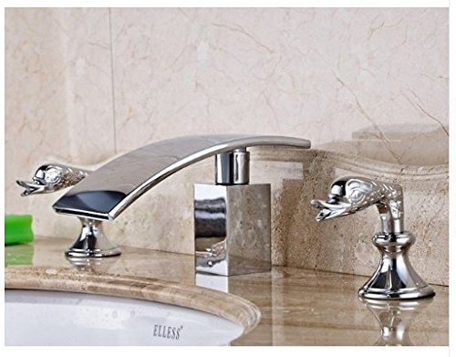 Gowe Bathroom Sink Faucet With Dual Handles Widespread 3pcs Waterfall Spout Mixer Tap Chrome Polished 0