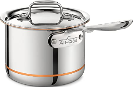 All-Clad 6202 SS Copper Core 5-Ply Bonded Dishwasher Safe Saucepan Cookware, 2-Quart, Silver