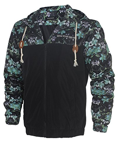 [Men's Stylish Floral-Print Light Weight Hoodie Jackets Wind-Resistant Coat 5099 US Large (Asian] (Pirate Coat For Sale)