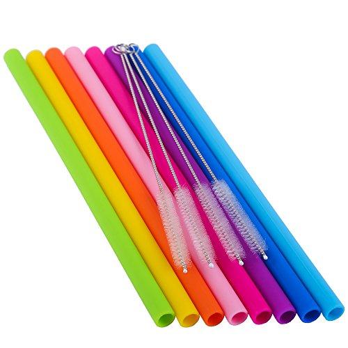 Silicone Straws 8Pcs Straight Smoothies For 30/&20OZ Tumblers+4 Brushes+1 RED Pou