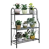 JOANNA'S HOME 3 Tier Metal Plant Stand Tiered Plant Shelf Pot Display Rack for Indoor Outdoor Use, Black