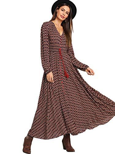 Milumia Women's Button Up Split Floral Print Flowy Party Maxi Dress (L, Multicolor-14)