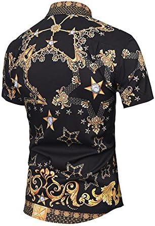 BOLAWOO Camisa Hombre Verano Elegantes Estampadas Vintage Hippies Street Style Moda Manga Corta Cuello Solapa Un Solo Pecho Camisas Blusas