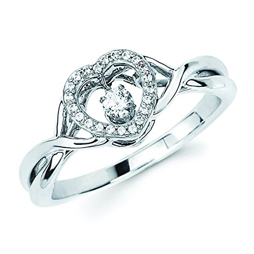 Brilliance in Motion 1/7 c.t. TW Diamond Heart Ring in Sterling Silver