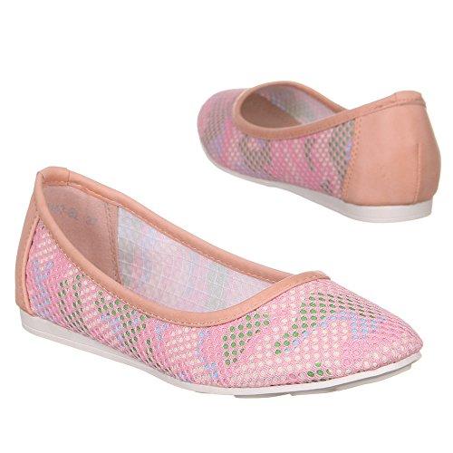 Ital-Design - Bailarinas de Material Sintético para mujer Varios Colores - Pink Multi