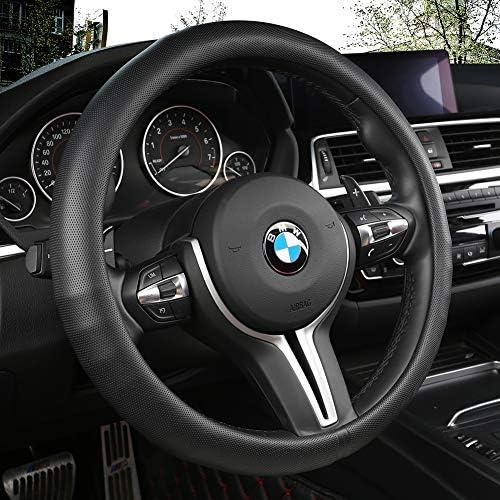 [해외]Black Panther Car Steering Wheel CoverGrip Contours Improves Control & Anti-Slip Design 15 inch Universal - Black / Black Panther Car Steering Wheel CoverGrip Contours Improves Control & Anti-Slip Design 15 inch Universal - Black
