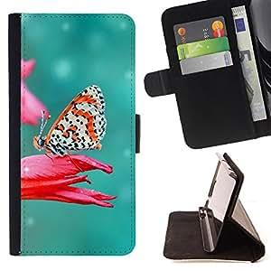 Dragon Case- Mappen-Kasten-Prima caja de la PU billetera de cuero con ranuras para tarjetas, efectivo Compartimiento desmontable y correa para la mu?eca FOR LG OPTIMUS L90- Butterfly Fly Beautiful Colorful