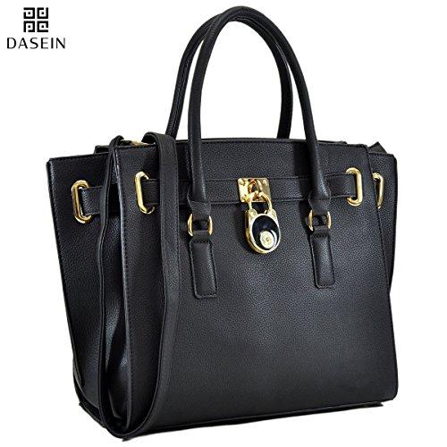 Dasein Womens Designer Handbag Belted Padlock Satchel Handbag Faux leather Medium Zip Top Tote Bag iPad Bag - Belt & Lock Style (KK04175- (Croco Style Leather Handbag)