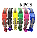 PACCOMFET FUNPET 6 Pcs Cat Collar Nylon Reflective with Bell
